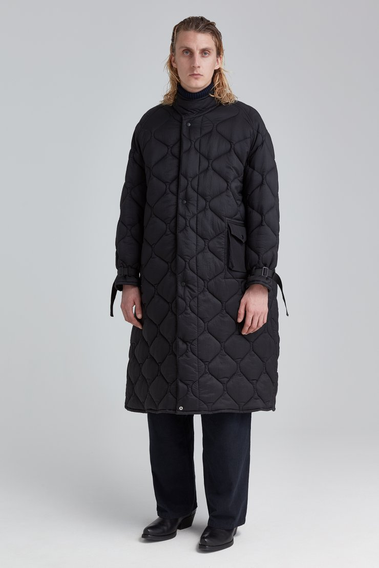 Quilted Long Cape Coat